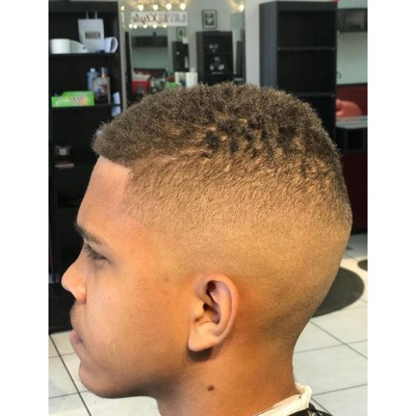 High Fade with Curly Top Caesar Cut Hairstyle