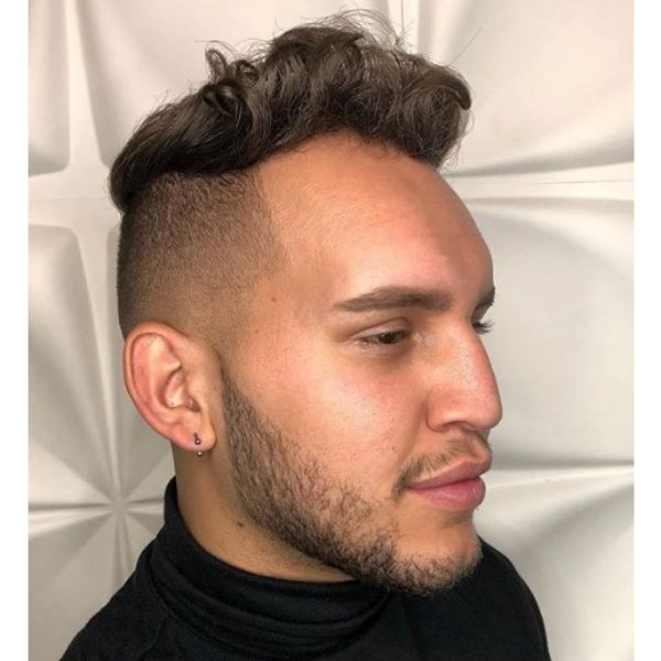 High Fade with Curly Up-swept Top