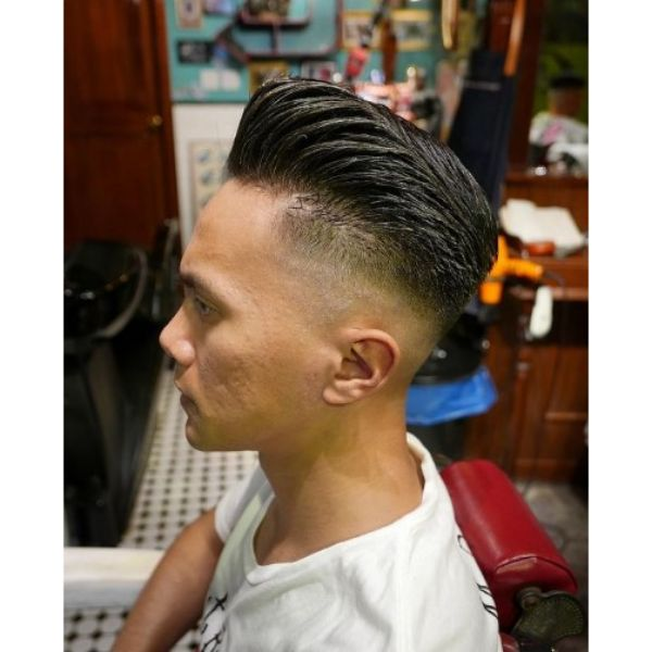 High Fade with Greasy Pomp Hairstyle