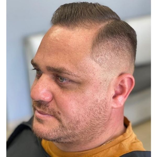 High Fade with Side-swept Hairstyle For Men with Receding Hairline