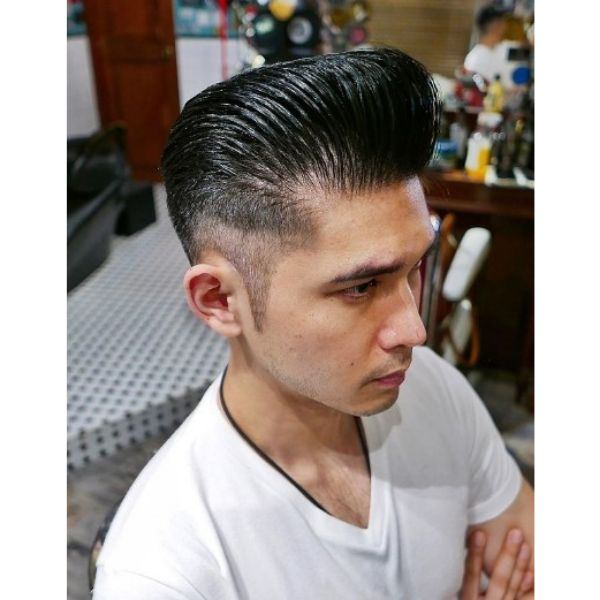 High Fade with Slick Back Hairstyle 1950s mens hairstyles