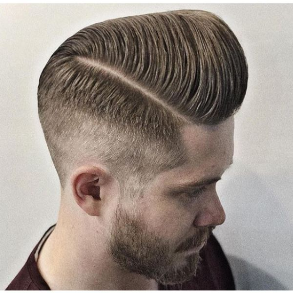High Pompadour with Faded Sides Hairstyle