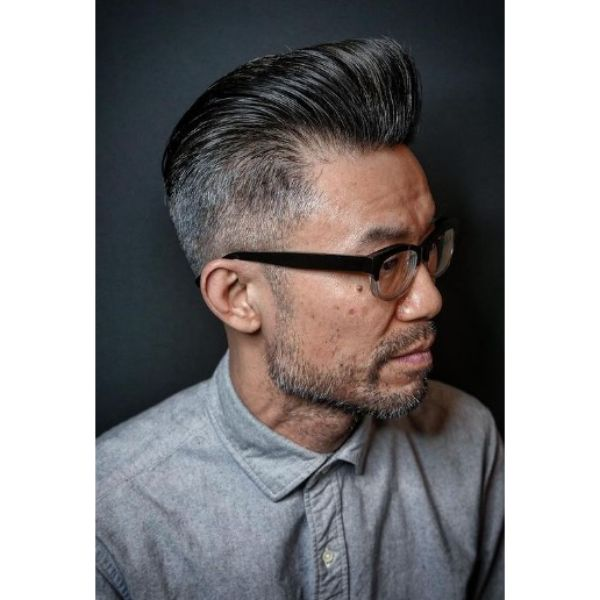 High Taper With Pompadour and short beard