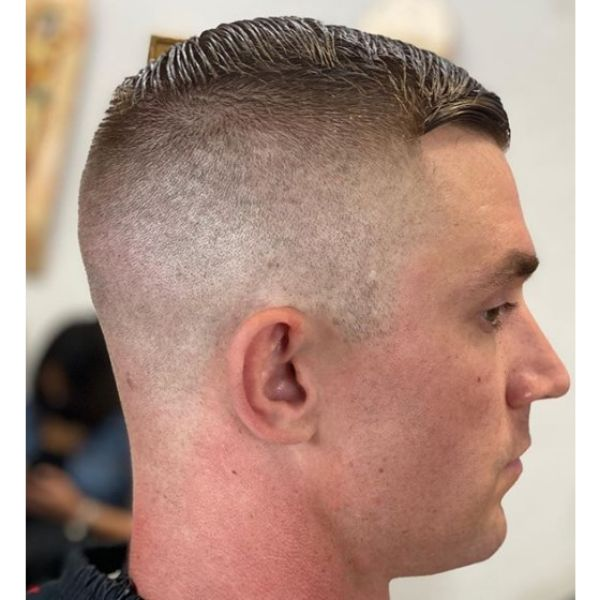 High and Tight Fade with Textured Top Hairstyles For Men With Receding Hairlines