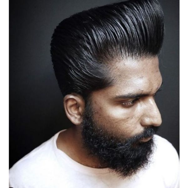 Long Luscious Trimmed Pompadour with Curly Beard