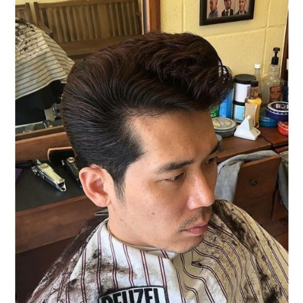 Long Pompadour with Curly Top Haircut