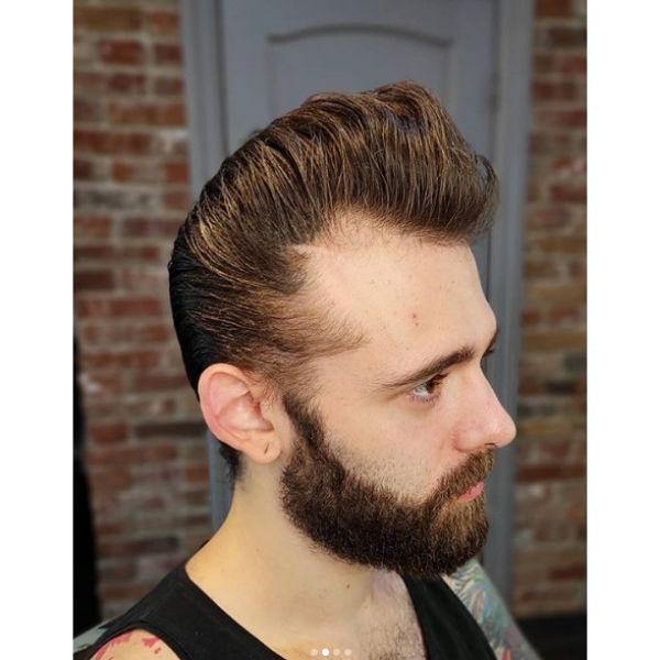 Long Trim Pompadour with Beard