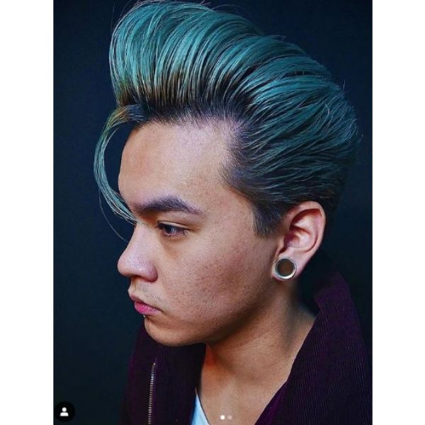 Metallic Green Pompadour with Falling Strands Hairstyle