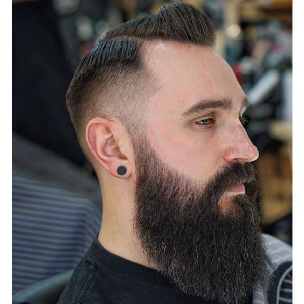 Mid Fade with Side Part and Long Beard Hairstyle