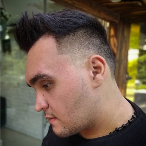 Mid Fade with Spiky Top Hairstyle For Men with Receding Hairline