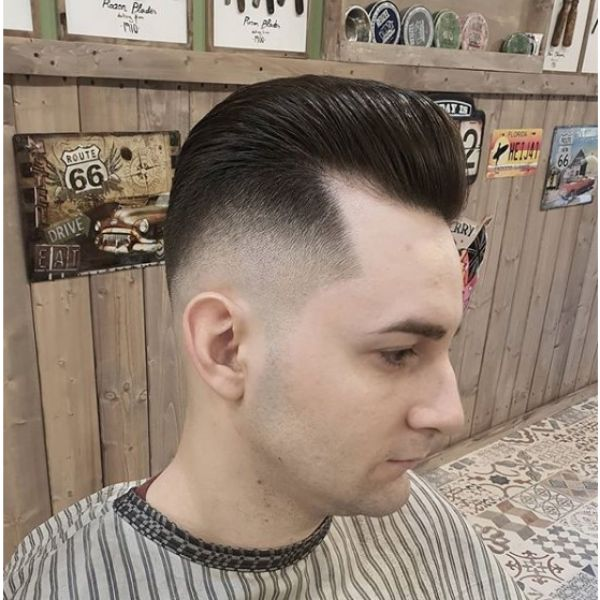 Modern Pompadour with Skin Fade  Hairstyles For Men With Receding Hairlines
