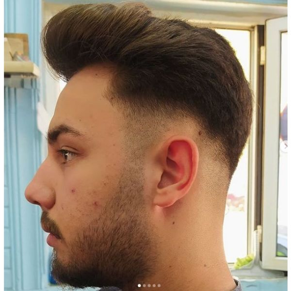 Modern Pompadour with Skin Fade Hairstyles For Men With Receding Hairline