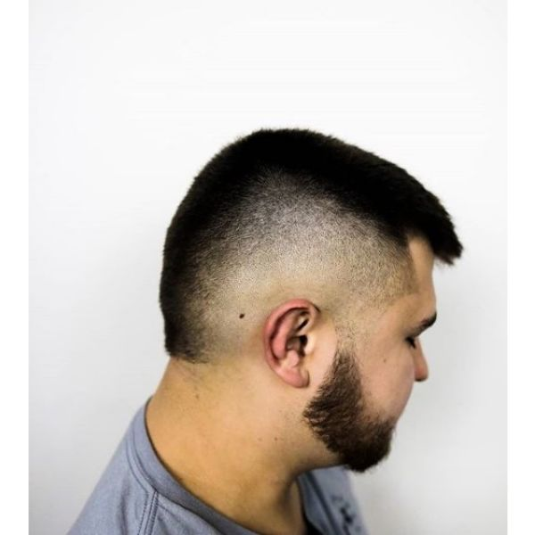Mullet Shaped Skin Fade Caesar Cut