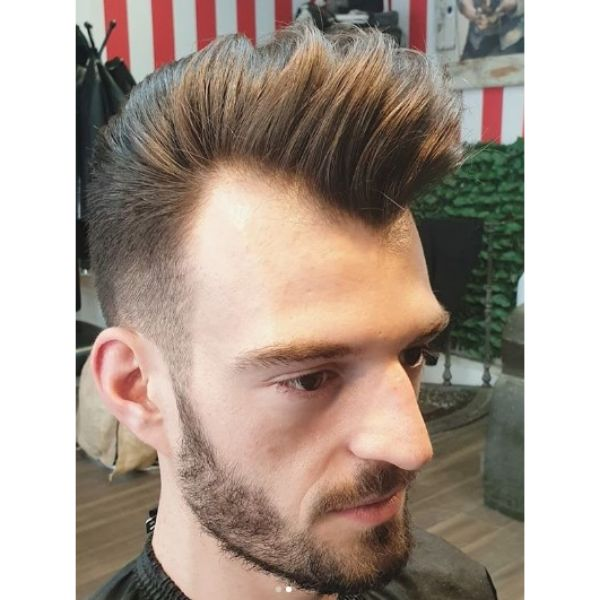 Natural Pomp with Widow's Peak Hairstyle