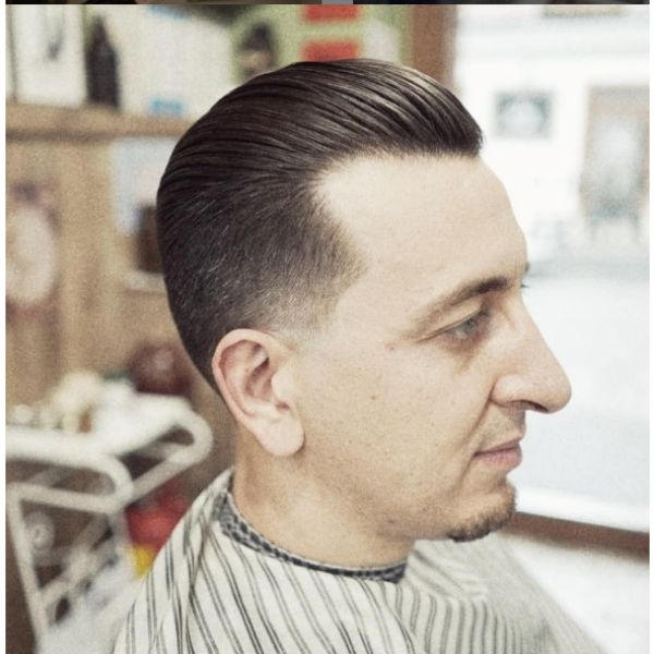 Oldschool Slick Back Hairstyle wtih Faded Sides