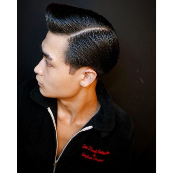 Pompadour Fade Haircut with Side Part Hairstyle