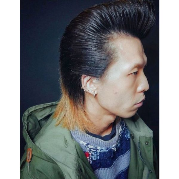 Pompadour Mullet Hairstyle with Blonde Tips