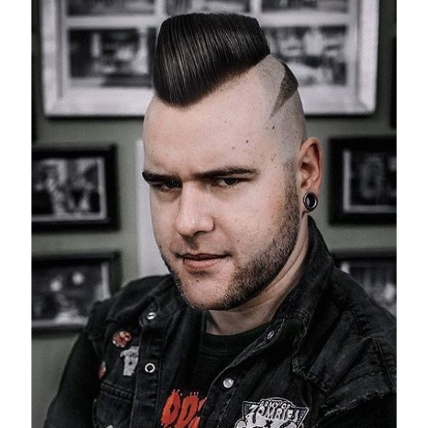 Psycho Billy Hairstyle with Side Razor design Hairstyles For Men With Receding Hairlines