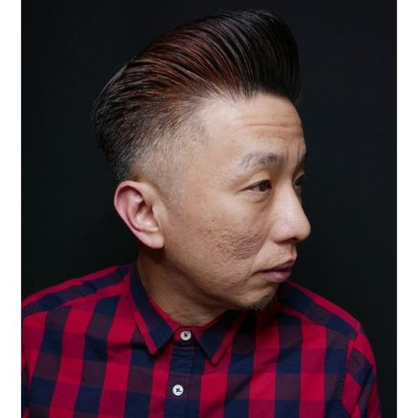 Red Colored High Pomp With Skin Fade