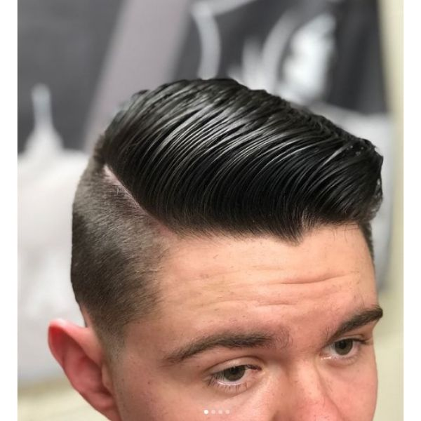 Retro Combover with Hard Part And Skin Fade