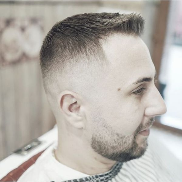 Short Military Hairstyle with Faded Sides Hairstyle