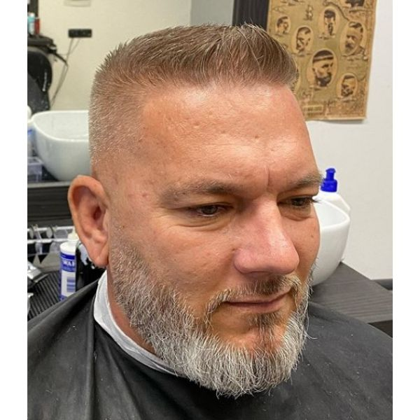 Short Skin Fade with Spiky Top and Beard Hairstyle