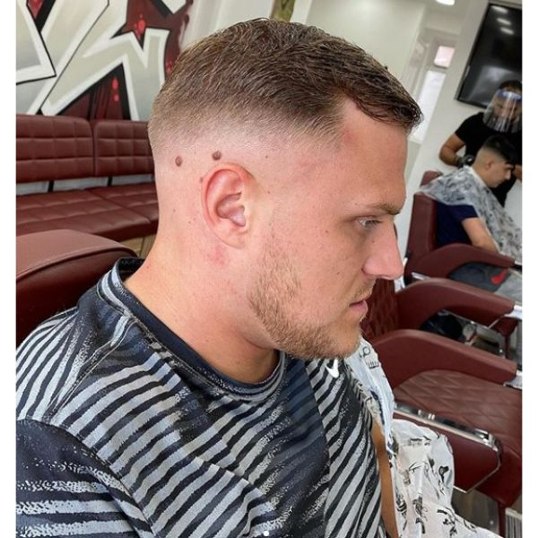 Short Skin Fade with Textured Top Hairstyles with Receding Hairline