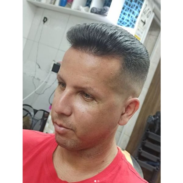 Silver Gray Pompadour Hairstyle For Mature Hairline