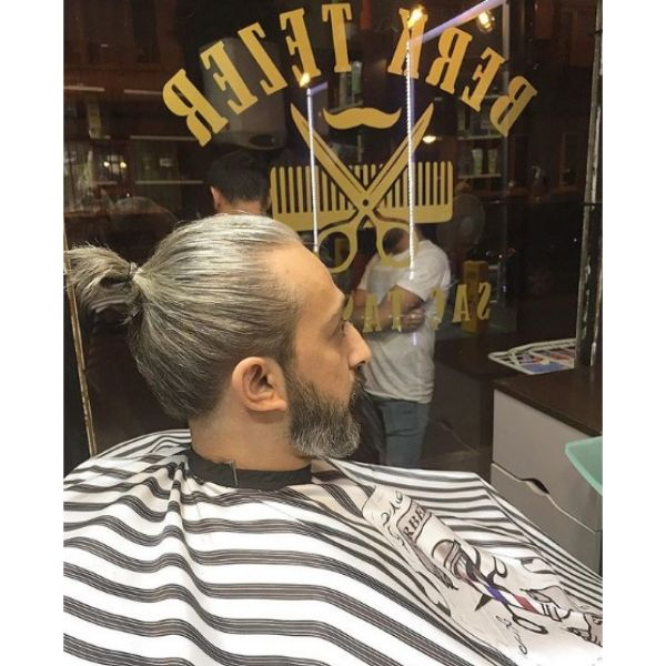 Silver Grey Man Bun with Beard Hairstyles For Men With Receding Hairline