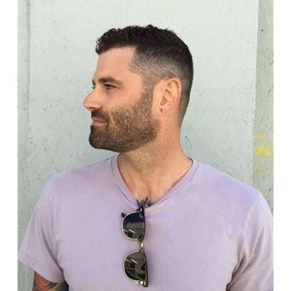 Skin Fade Caesar Cut Hairstyle with Textured Top
