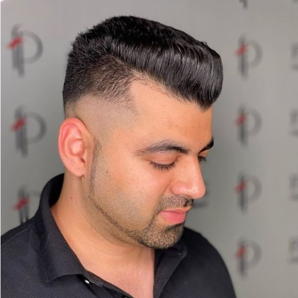 Skin Fade Flattop Hairstyle For Men with Receding Hairline