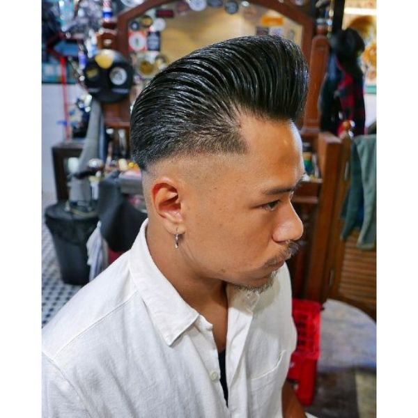 Skin Fade with Greasy Pompadour Hairstyle 1950s mens hairstyles