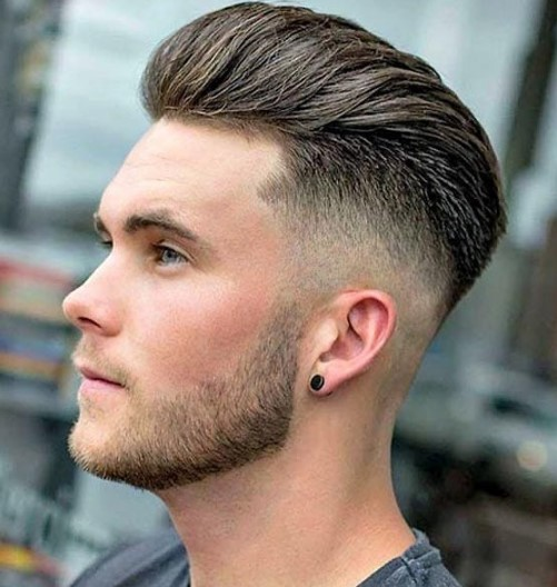 Skin Fade with Pompadour for Mature Hairline