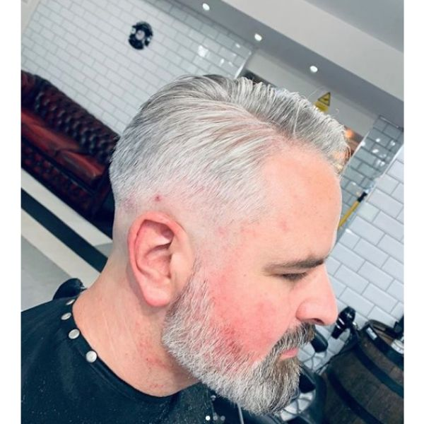 Skin Fade with Silver Grey Hairstyle