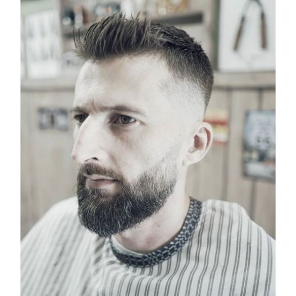Skin Fade with Spiky Top Hairstyle For Men with Receding Hairline