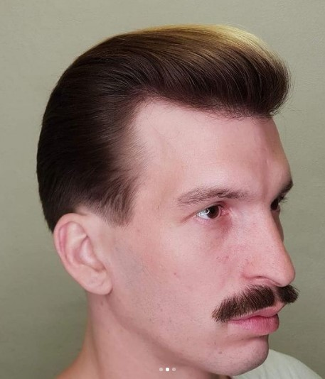 Sleek Flat Pompadour With Auburn Faded 1950s mens hairstyles