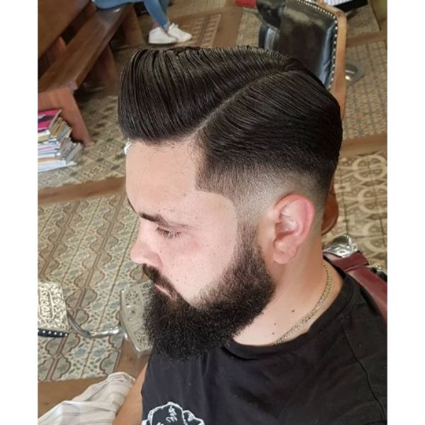 Sleek Pompadour with Faded Sides Hairstyle