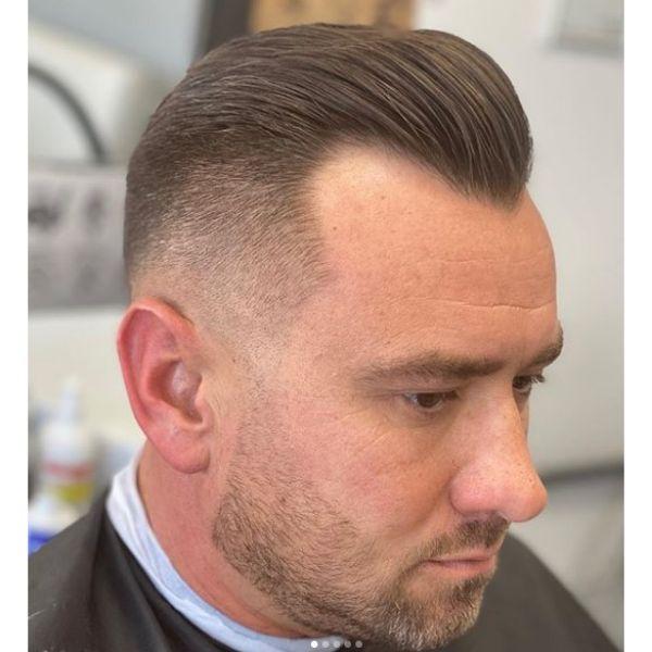 Sleek Widow's Peak Skin Fade Hairstyles For Men With Receding Hairline