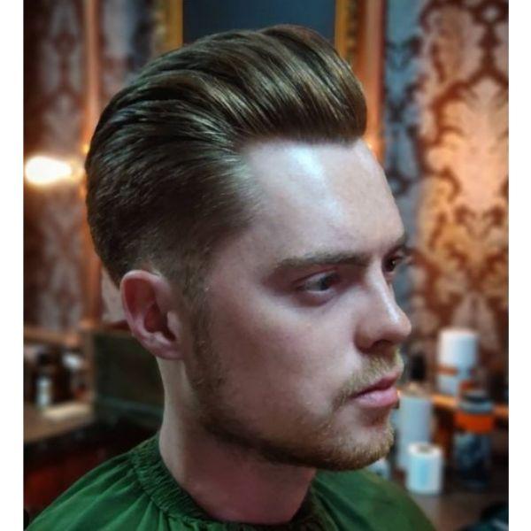 Slick Back Blonde Pompadour 1950s mens hairstyles