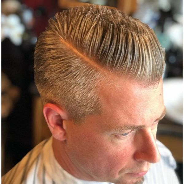 Slick Back Flattop with Side Part Hairstyle