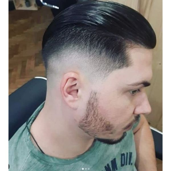 Slick Back Hairstyle with Skin Fade Hairstyle