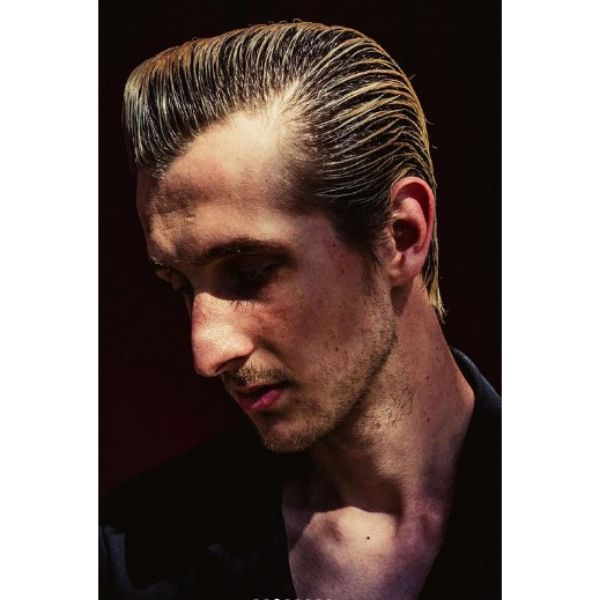 Slicked Back 1950's Men's Hairstyle 1950s mens hairstyles