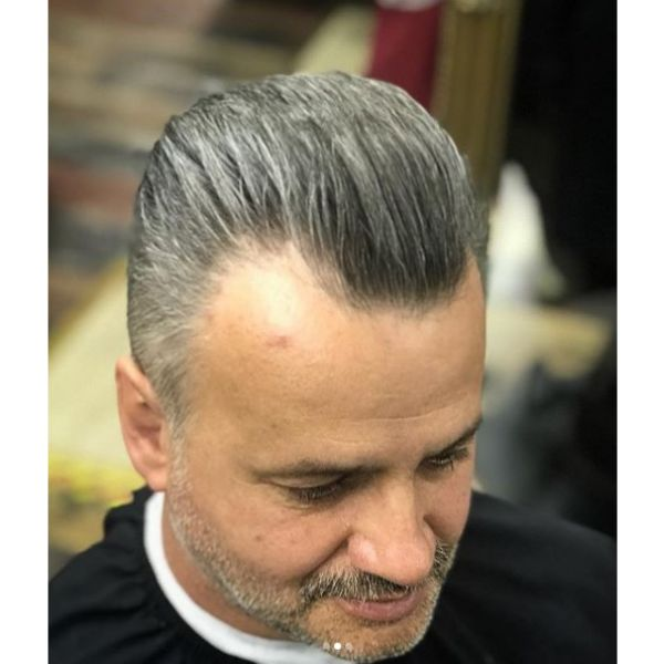 Sliver Grey Hairstyle With Mature Hairline