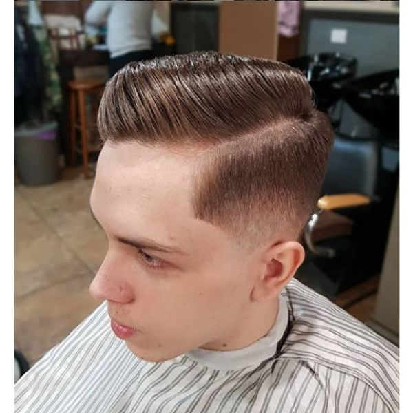 Taper Fade with Side Part Hairstyle For Men With Receding Hairline