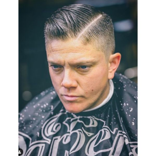 Taper Haircut with Hard Part Hairstyle 1950s mens hairstyles