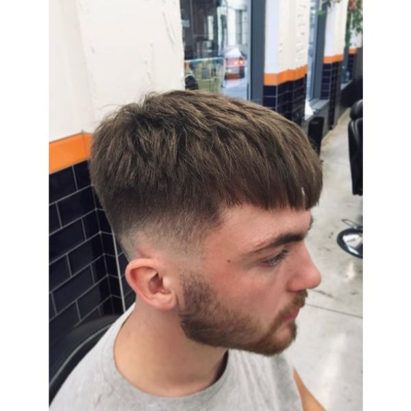 Textured Caesar Cut with Long Bangs