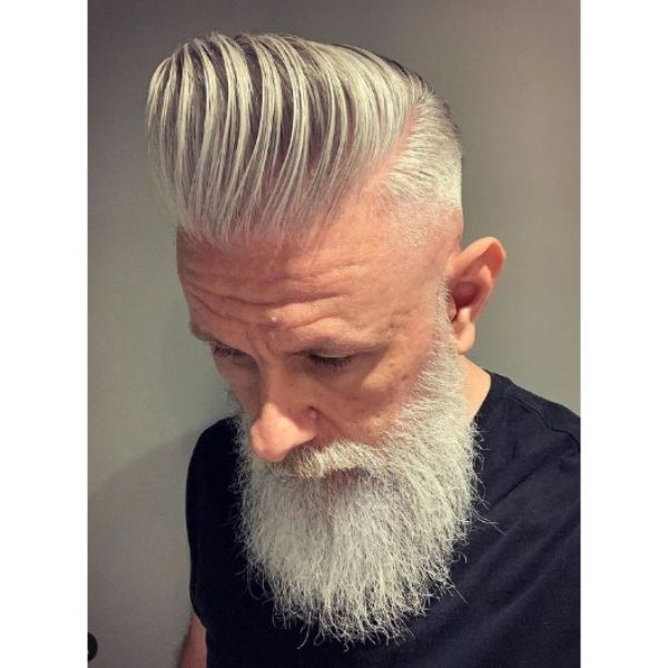 White Colored Sleek Pompadour With Long Trimmed Beard