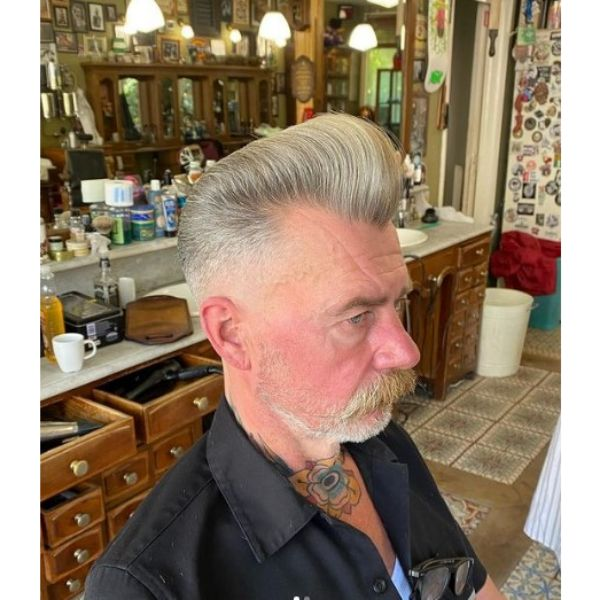 White Grey Colored Hairstyle with Long Mustache