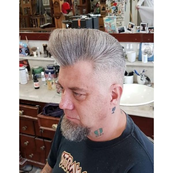 White Grey Pompadour with Small Beard Hairstyle
