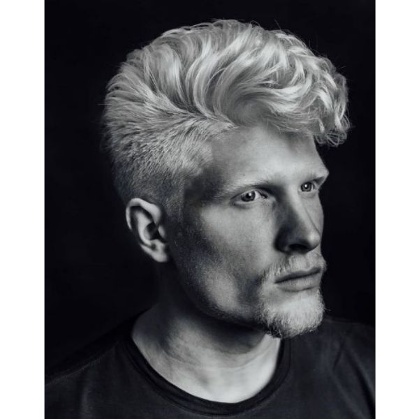 White Platinum Blonde Hairstyle With Wavy Top